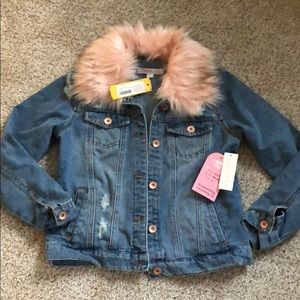 Other - Faux Fur Collar Denim Jacket